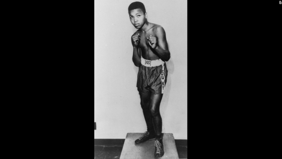 Ali, then known as Cassius Clay, poses in his hometown of Louisville, Kentucky, prior to his amateur boxing debut in 1954. He was 12 years old and 85 pounds. As an amateur, he won 100 out of 108 fights.