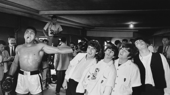 Ali poses for a picture with The Beatles in Miami, during the run-up to his heavyweight title fight against Sonny Liston in 1964.