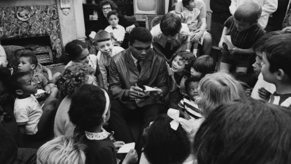 Ali visits a children's home in London in May 1966.