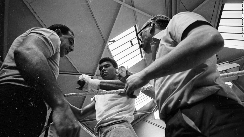 Ali trains for his second fight against British champion Henry Cooper in May 1966.