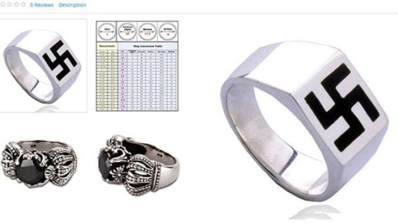 Online shoppers were shocked to find a ring featuring a swastika design listed for sale on Sears