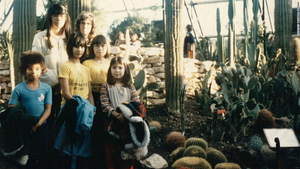 As a 9-year-old, Pereira and her sisters visit a conservatory in Edmonton, Alberta.