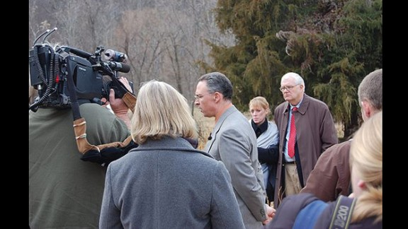 Virginia State Police Special Agent Dino Cappuzzo, joined by Morgan Harrington's parents, briefs the media on the farm where her body was found. A $150,000 reward was offered for information leading to an arrest and conviction in the case.