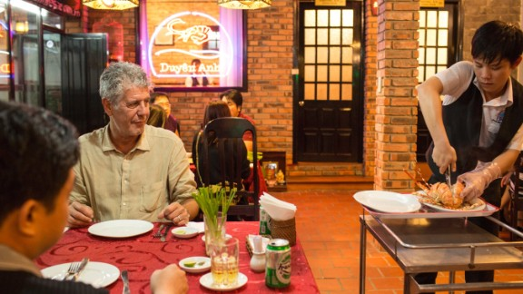 Bourdain eats with his good friend Linh at Duyên Anh, a seafood restaurant that lets diners pick out fresh catches from the Tam Ziang Lagoon and the South China Sea.