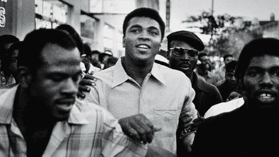 Ali walks through the streets of New York with members of the Black Panther Party in September 1970. Ali was sentenced to five years in prison for his refusal to enter the draft, and he was also stripped of his boxing title. The U.S. Supreme Court overturned Ali's conviction in 1971, but by that time Ali had already become a figurehead of resistance and a hero to many. Related: Photographer fondly recalls his three days with Ali