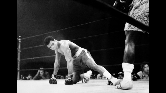"Known as the ""Fight of the Century,"" Ali and Joe Frazier split a $5 million purse to fight for Frazier's title on March 8, 1971, in New York. Frazier won by unanimous decision, handing Ali his first professional loss."