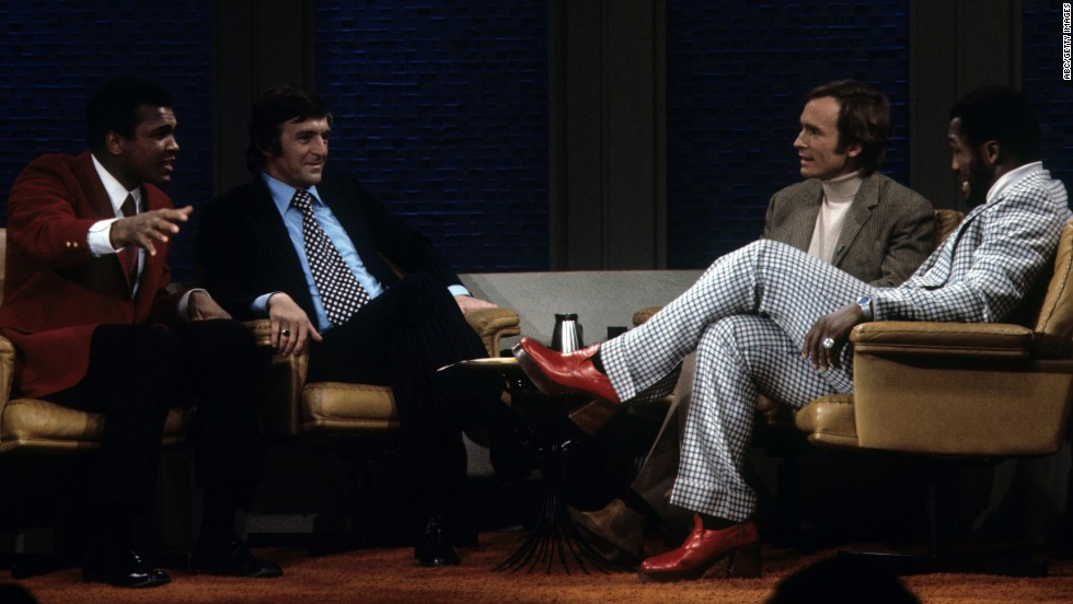 "Ali and Frazier appear on ""The Dick Cavett Show"" in January 1974. The two got into a brawl in ABC's New York studio and were fined $5,000 each."