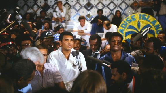 Ali and Trevor Berbick weigh in for their fight in the Bahamas in December 1981. Berbick won by unanimous decision. It was Ali's last professional fight.