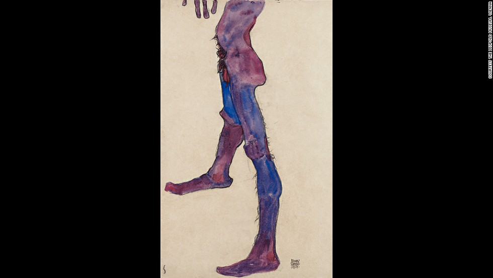 "<em><strong>Male Lower Torso, 1910</strong></em><br /><br />Schiele extended this desire to create a new visual language to his use of color.<br /><br />""When he does use those brighter and highly keyed colors, he wants us to engage with the body in a different way. He wanted to make the familiar strange, as it were, and ask us to look again at the human figure.""<br /><br />He applied this philosophy outside of the erotic too. In 1910, he was permitted to make nude studies of newborns and their mothers at a Vienna hospital to explore the themes of maternity and pregnancy. (Four of these pieces will be on display as part of the exhibition.)"
