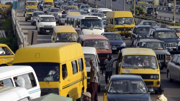 Motorists are stuck in traffic jam on October 13, 2014, tempting them to use their horns to hasten the flow of traffic in Lagos. October 15 has been declared Lagos