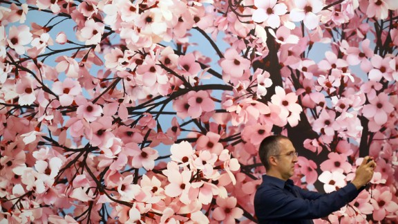 """Thomas Demand's Japanese-inspired """"Hanami"""" was one of the most floral works on display, which made it the perfect backdrop for a selfie, apparently."""