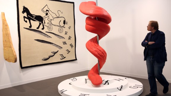 """The artists Slavs and Tatars exhibited """"Tongue Twist Her"""", which resembles a giant tongue coiled around a spike."""