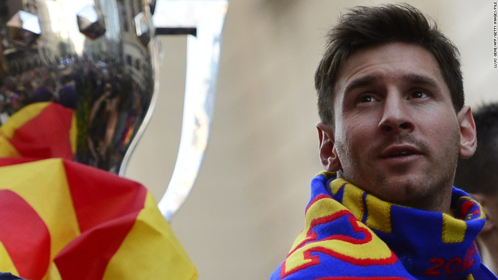 Barca reigned in Spain during the 2012-13 season, running away with the league title by racking up 100 points. During his 10 years at the Nou Camp, Messi has won six league titles and two Spanish Cups in addition to three Champions League crowns.