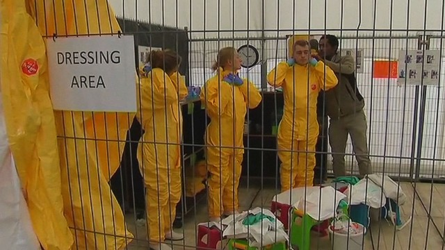 Aid workers train to battle Ebola