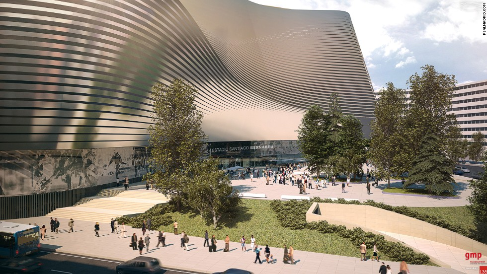Architectural firm Gerkan, Marg and Partners says the metallic skin will allow a changing perception of the arena by pedestrians 'depending on their position and movement.'