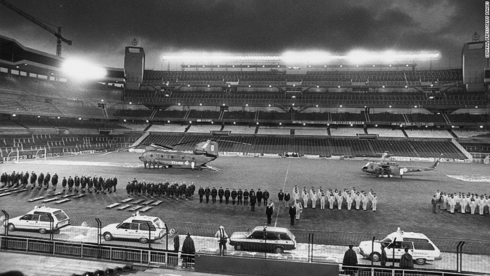 Formidable security was in place ahead of the 1982 World Cup final at the Santiago Bernabeu Stadium.