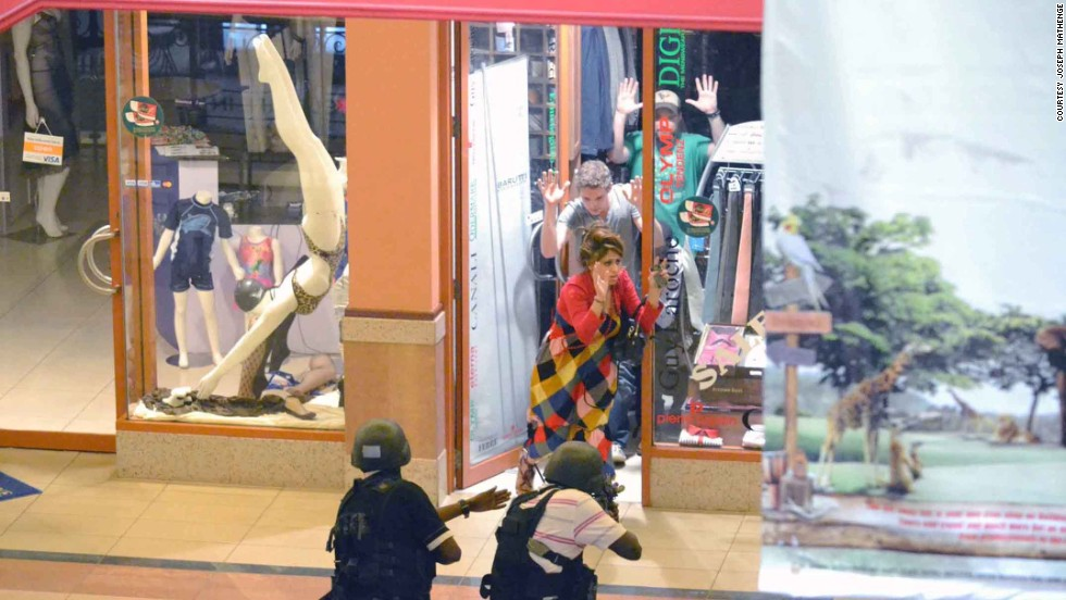 Mathenge captures a moment where armed security are able to safely secure the release of several trapped shoppers from inside Westgate.