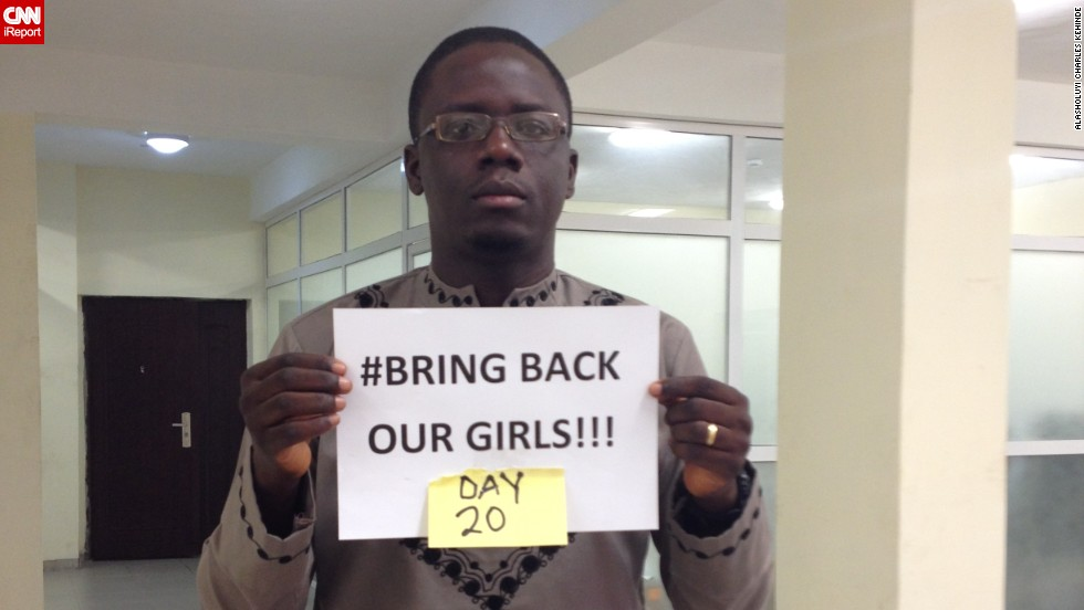 "After more than 200 Chibok schoolgirls were abducted in Nigeria by Islamist terror group Boko Haram, the social media campaign #BringBackOurGirls took over sites like Twitter and Facebook. Twenty days after the girls vanished, <a href=""http://ireport.cnn.com/people/Alashock"">Alasholuyi Kehinde</a>, photographed here, joined the social media effort too."