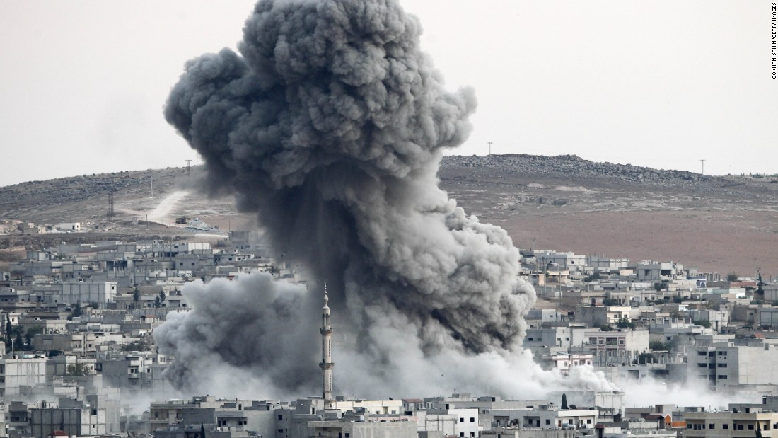 Heavy smoke rises in Kobani following an airstrike by the U.S.-led coalition on October 18.