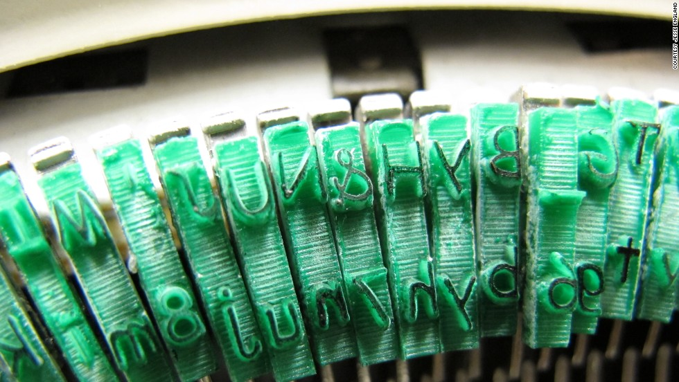 "To create the ""Sincerity Machine,"" England  used a laser engraving machine to etch new letters out of acrylic, and glued them onto the strikers of a Sears-branded Brother Charger 11 typewriter."
