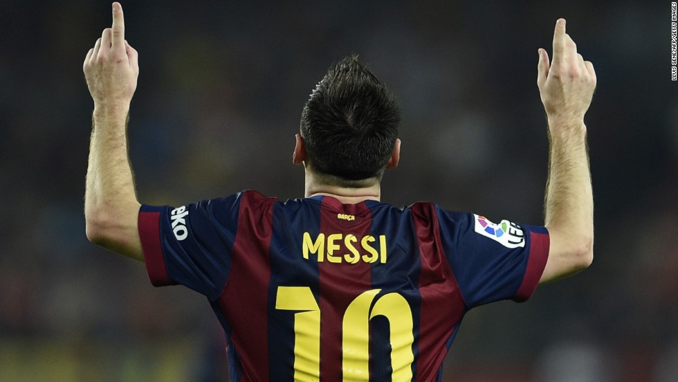 A familiar pose as Lionel Messi celebrates his 250th La Liga goal, one shy of the all-time record, in Barcelona's 3-0 win over Eibar.