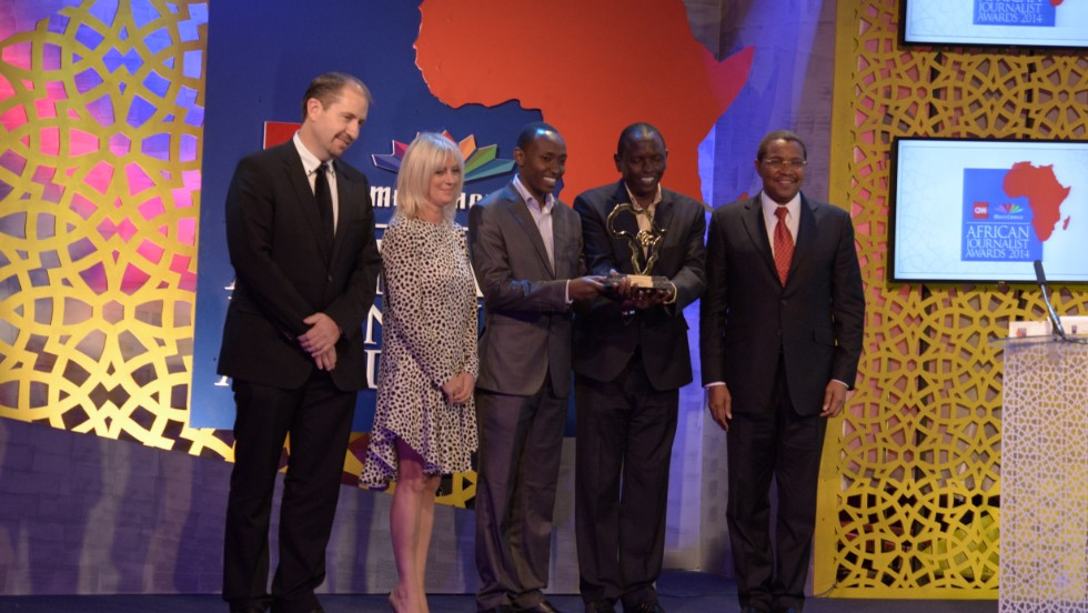 Deborah Rayner, senior vice president of international newsgathering TV and digital at CNN International presented Mathenge, pictured second from right, with the top award alongside Jakaya Kikwete, President of Tanzania and Nico Meyer, CEO MultiChoice Africa.
