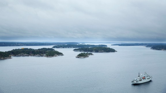 The Swedish Navy minesweeper HMS Koster patrols the Stockholm Archipelago on October 19.