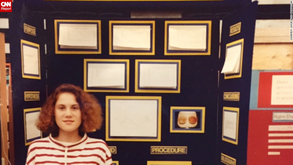 "When Heather's mother took this picture of her at a science fair in 1991, she had no idea that Heather would grow up to become a NASA intern and that they would write two science books together. ""When I was in middle school, my science research teacher took me under his wing and encouraged my research ambitions,"" says Heather Reis Tomasello from Florida. <br /><br />""This small investment of his time and encouragement multiplied exponentially, as I went on to internships at NASA and a large community hospital. I also competed at the international science fair, and paid for half of my college education with scholarships resulting from my science fair awards."""