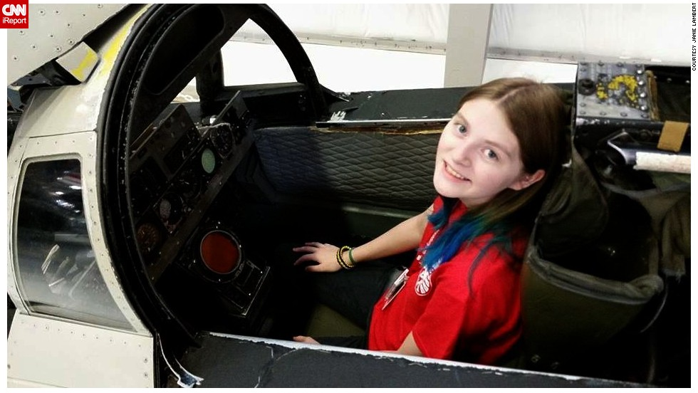 """Zoe breaks the norm for most senior girls in high school,"" added Lambert. ""Instead of playing dolls as a child she preferred hanging out with the boys and building cardboard box spaceships."" Zoe, who lost her father at nine years old, is pictured here at the National Flight Academy in August 2014."