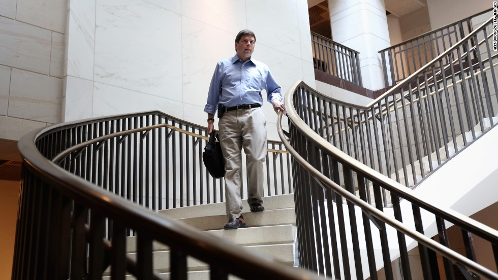 Begich arrives at Capitol Hill for a closed briefing on Syria in September 2013.