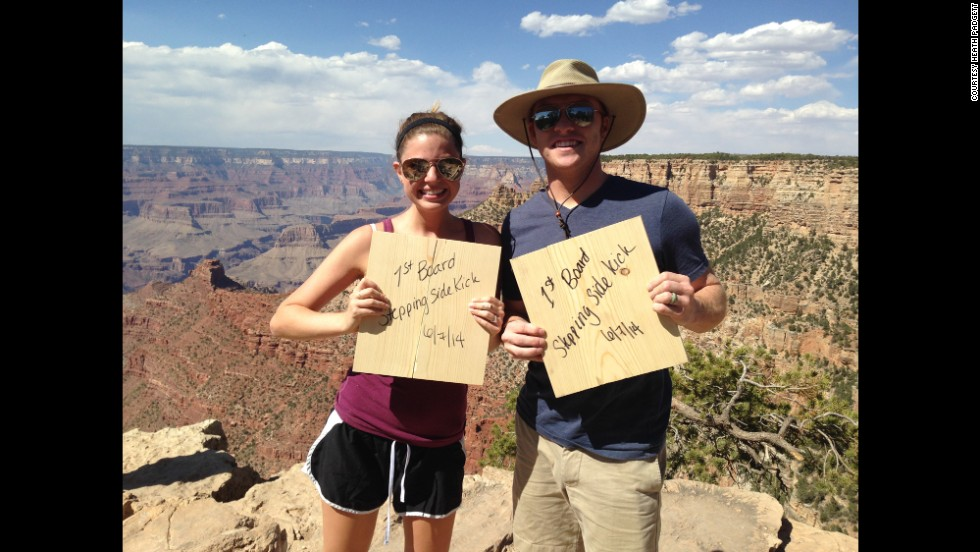 The Grand Canyon is one of the many scenic spots the couple has seen along the way. During their stop, they worked in a nearby martial arts studio and broke their first boards.