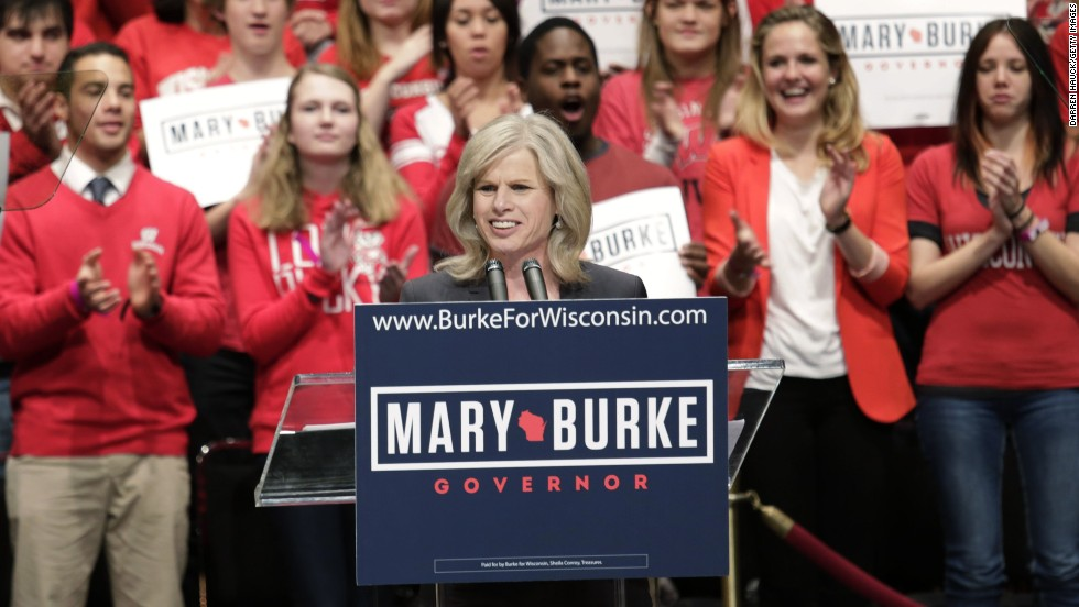 Burke speaks during a campaign rally last month in Madison.