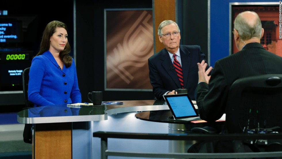 McConnell and Grimes participate in a televised debate last month.