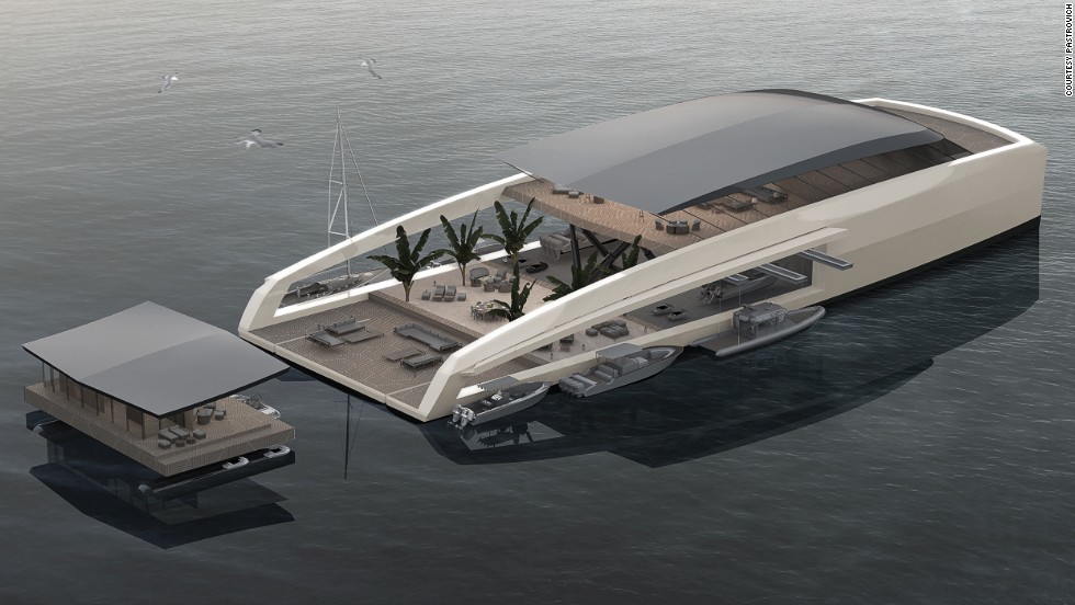 "<strong>X R-EVOLUTION, designed by Stefano Pastrovich</strong><br /><br />If a superyacht isn't big enough to really ""get away from it all,"" guests could always float away on their own deployable deck.<br /><br />""I do very extreme designs, because that's me, that's my personality,"" says Pastrovich.<br /><br />""My customers are very genuine, brave, challenging people. They don't want another white piece floating on the water. They want something incredible that does not exist."""