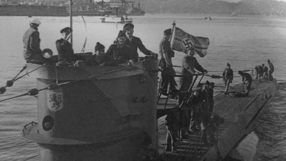 Crew members are seen on a German U-boat, the U-576, in this undated photo released by the National Oceanic & Atmospheric Administration. The submarine was sunk during World War II more than 72 years ago, and its remains were recently found off the coast of North Carolina, NOAA announced Tuesday, October 21.