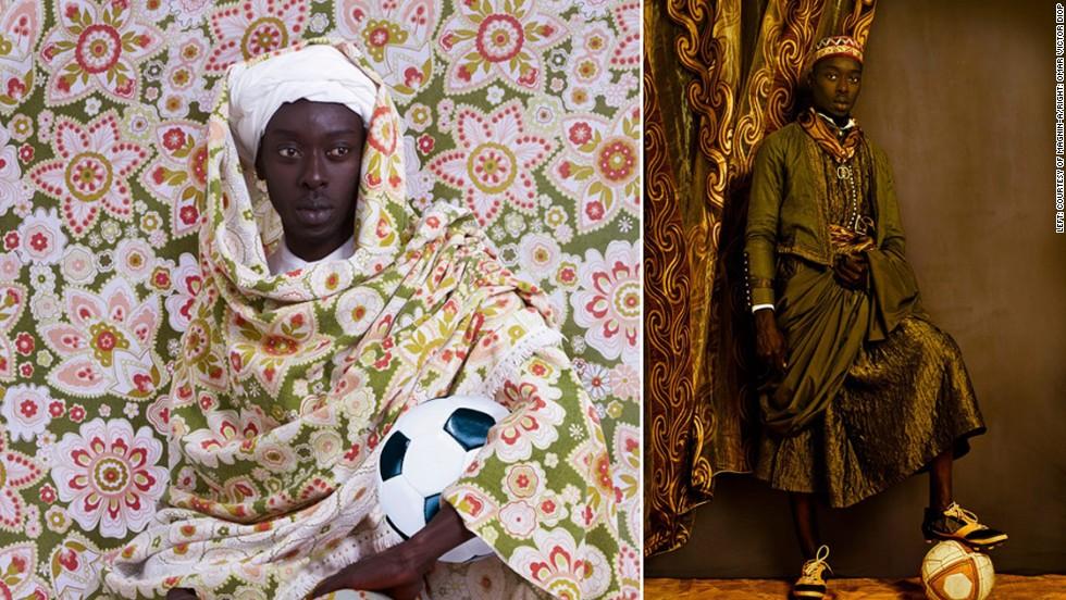 "<em>A Moroccan Man, Omar Victor Diop, 2014</em><br /><br />""For the very first time, I chose to use myself as object in my artistic expression. This was a tough exercise, as I had to be both narrator and character, which forced me to face my own insecurities,"" Diop reveals.<br /><br />He used sports props to weave a modern narrative into his work.<br /><br />""I didn't want to just shoot copies of these portraits,"" he says. ""Hence I used references to sport, football in particular, to show the duality of living a life of glory and recognition while facing the challenges of being 'other.'"""