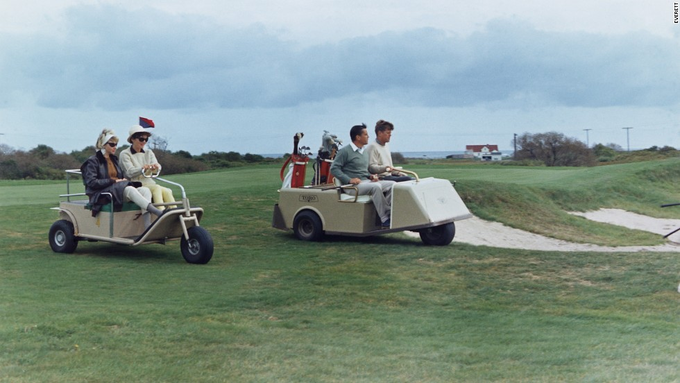 In September 1963 -- some two months before he was assassinated -- President John F. Kennedy played golf with Bradlee at Newport Country Club in Rhode Island. Accompanying them are first lady Jacqueline Kennedy and Antoinette Bradlee, his second wife.<br />