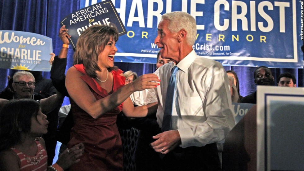 Crist hugs his running mate, Annette Taddeo-Goldstein, shortly after winning the Democratic primary in August.