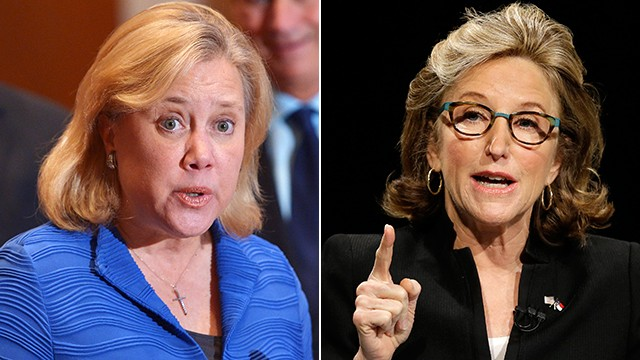 Sen. Mary Landrieu (left) and Sen. Kay Hagan are both in competitive Senate races in their home states of Louisiana and North Carolina, respectively.