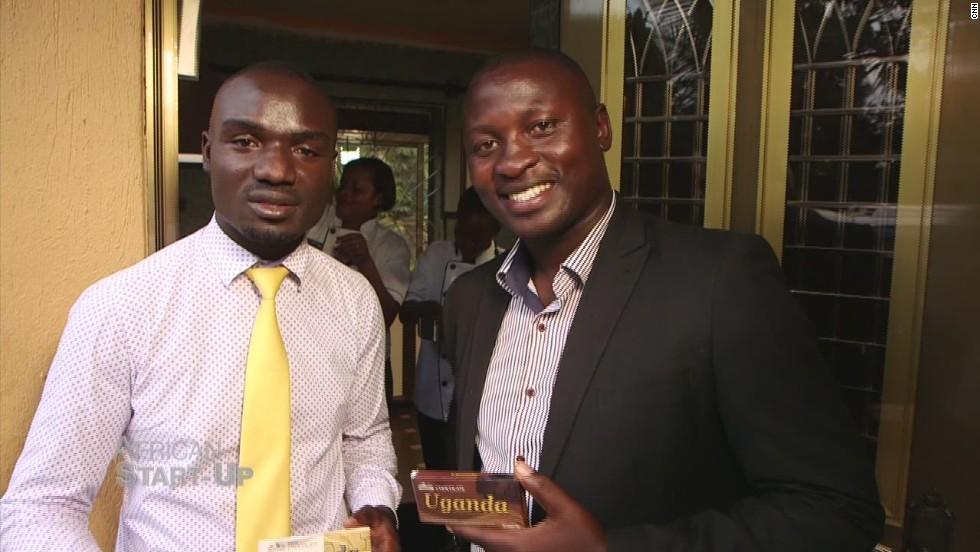 Seen here with Pink Food Industries co-founder Felix Okuye, Stephen Sembuya (left) has revived his family fortunes in fine style. Sembuya took over the family's failing cocoa plantation and built a new chocolate empire with the produce. The 700 acre farm is the largest individually owned cocoa plantation in Africa, now employing 100 workers who produce 60 kg of chocolate an hour.