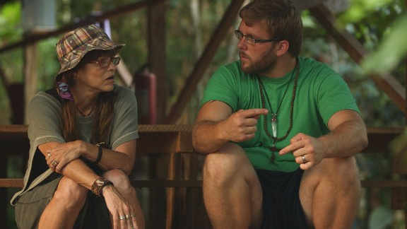 Ryan LeCompte, right, talks with one of the veterans seeking ayahuasca
