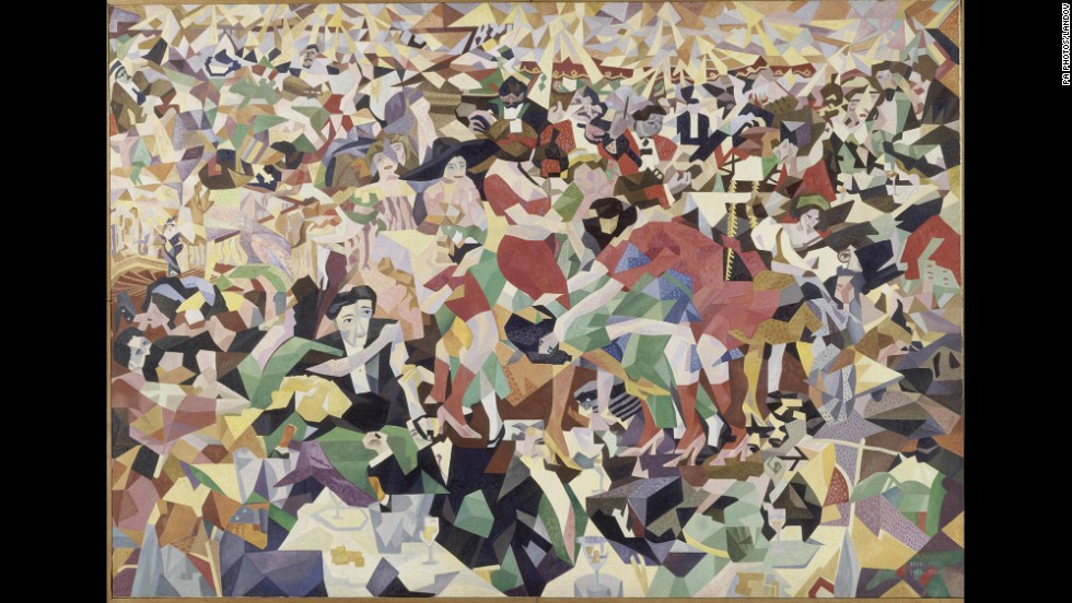 "Gino Severini was among the painters of the Futurist movement that would flourish during the war, reflecting the mechanized violence of the time. Futurists served as avant-gardists in the literal military sense, says art historian Ara Merjian, underscoring the war's inseparability from various aesthetic phenomena. This is his pre-WWI Cubist collage ""La Danse du Pan Pan au Monico."""