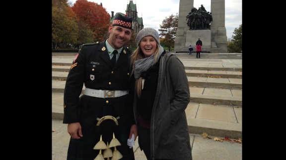 A photo Megan Underwood took with Nathan Cirillo on Sunday at the War memorial