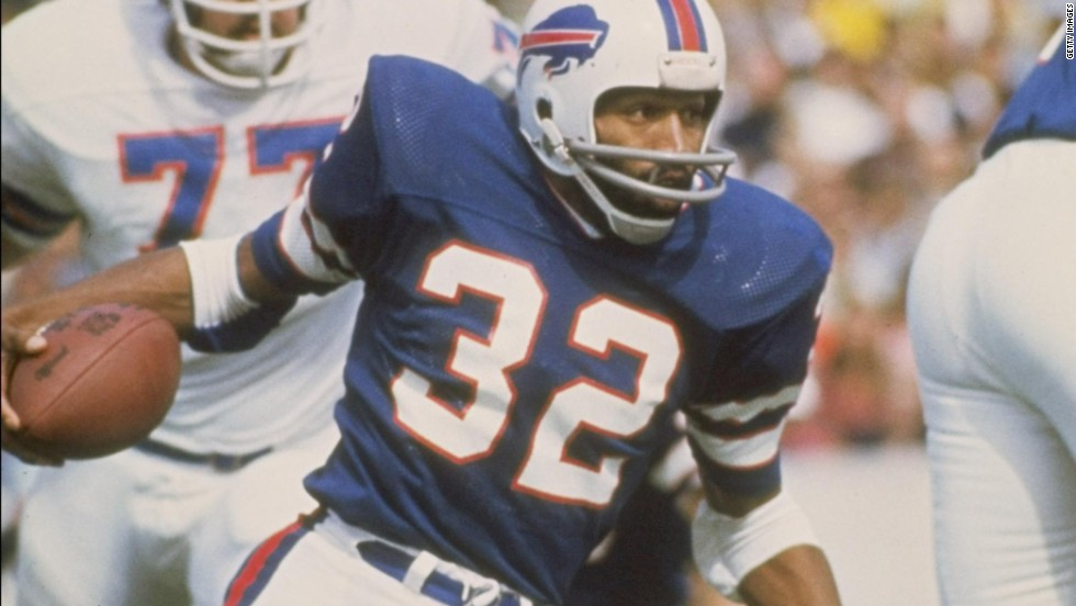 OJ Simpson is currently serving time behind bars for armed robbery but in happier times was a star running back for the Buffalo Bills, before pursuing a successful acting career.