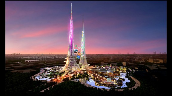 Planned for construction in Wuhan, the capital of Hubei province, the Phoenix Towers will be the tallest in the world at one kilometer high, if completed on schedule.