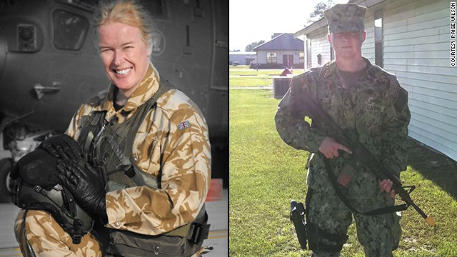 British Royal Air Force Flight Lt. Caroline Paige and former U.S. Navy Petty Officer Landon Wilson.