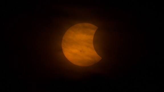 Gout attached his camera to a telescope to create this up-close shot of the partial solar eclipse.