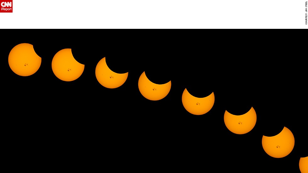 "The moon took a small bite out of the sun in a partial solar eclipse on Thursday. People throughout the U.S. shared their photos with <a href=""http://ireport.cnn.com/topics/1309"">CNN iReport</a>. Jim Steel created a <a href=""http://ireport.cnn.com/docs/DOC-1182635"">time-lapse composite</a> after snapping photos for more than two hours in Weldon, California. ""The massive sunspots made this the most interesting solar shots I have ever made,"" he said."