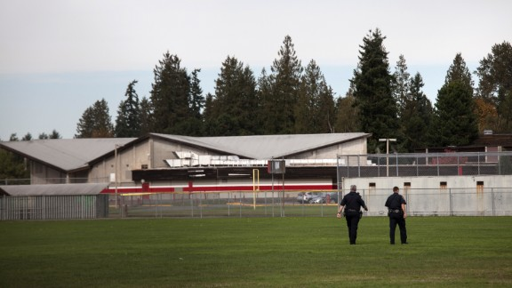 Police monitor the school