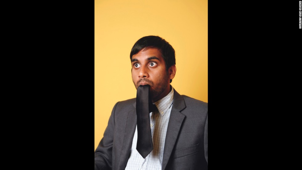 "<strong>Aziz Ansari: </strong>""This face illustrates how I'd react if I saw tie-eating monsters and wanted to fool them into thinking I was one of them."""